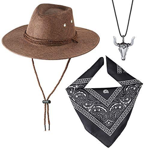 Beelittle Accesorios de Disfraces de Vaquero Sombrero de Vaquero Pistolas de Juguete con Funda de cinturón Juego de Vaquero para la Fiesta de Halloween (D)