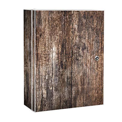 banjado XXL Medizinschrank abschliessbar | großer Arzneischrank 35x46x15cm | Medikamentenschrank aus Metall weiß | Motiv Altes Holz mit 2 Schlüsseln | Gestaltung auf Front und Seiten