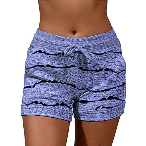 YANFANG Pantalones Estampasos Monos para Mujerpantalones Cortos De Vendaje Casual Mujer con Bolsillos Estampado Suelto,Pantalones Casuales Rasgados Primavera Y Verano Hombres Cinco Puntos,2-Blue,S