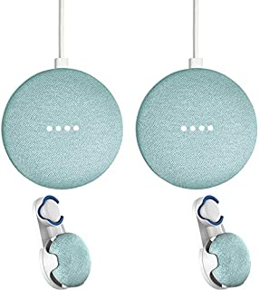 Google Home Mini Smart Speaker Assistant Aqua 2 Pack + 2X Wall Mount