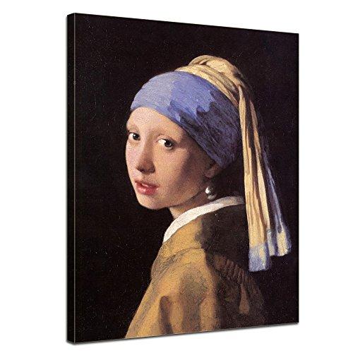 Bilderdepot24 Bild auf Leinwand   Jan Vermeer Das Mädchen mit dem Perlenohrgehänge in 40x50 cm als Wandbild   Wand-deko Dekoration Wohnung alte Meister   180184-40x50