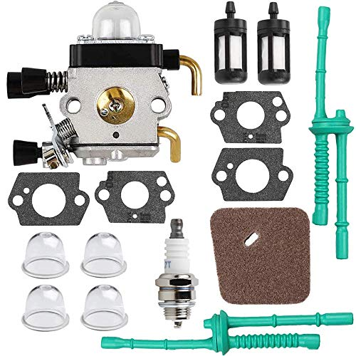 HPENP C1Q-S97 Carburetor with Air Filter Fuel Line Kit for Stihl FS38 FS45 FS45C FS45L FS46 FS55 FS55C FS55R FS55RC FS55T HL45 KM55 KM55C KM55R KM55R ZAMA Carb String Trimmer Weed Eater