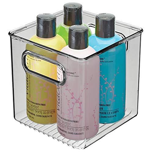 mDesign Contenitori per il bagno – Organizer in plastica per cosmetici, prodotti bagno e molto altro – Pratico cesto per il bagno con manici – Trasparente/grigio