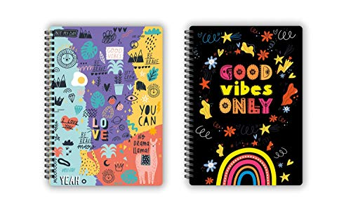 HC with HAPPY CRAFT Soft Bound Designer Unruled Ultra-Stylish Doodle a5 Diary, 2 Pack, 14.8 X 21 cm Journals for Work, Travel,...