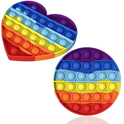 Atuful Fidget Toy Set Anti Stress Pop It Fidget Toys Squeeze Toys Relief Stressabbau& Autismus für Erwachsene und Kinder Push Pop Pop Bubble(Regenbogen Liebe)