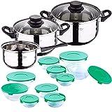 Bateria de cocina 5 piezas San Ignacio de acero inoxidable con set de 10 tupperware en vidrio con tapa verde
