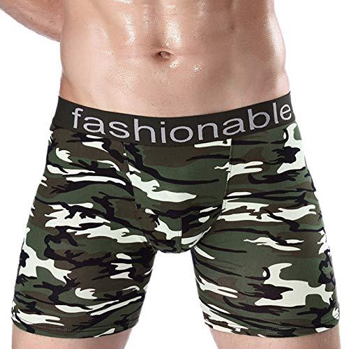 IILOOK Herren Baumwolle Camouflage Bedruckte Boxershorts Atmungsaktive Sexy Slips Langer Stil Boxershorts mit Baumwoll-Tarnmuster für Herren lang