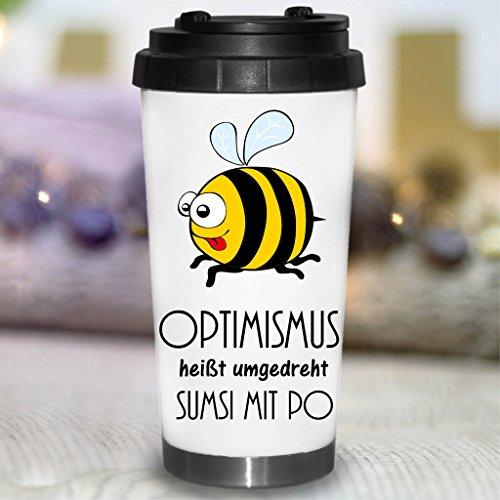 Wandtattoo-Loft® Bedruckter konischer Edelstahl Thermobecher Spruch Optimismus heißt umgedreht Sumsi mit Po. mit fröhlicher Biene/Becher/Thermobecher mit Motiv und Spruch/Bee
