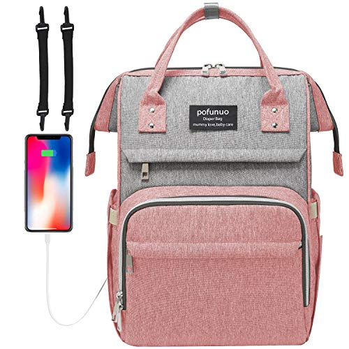 Diaper Bag Backpack, Packism Large Waterproof Diaper Backpack Baby Bag for Girls Boys, Multifunction Nappy Bag for Mom and Dad with USB Charging Port and Stroller Straps