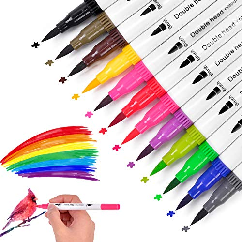 JUWINEN 12 Colors Water-based Professional Paint Marker Watercolor Pen Drawing Markers Highlighter Calligraphy Pens for Adult Coloring Hand Lettering Writing Planner Art Supplier