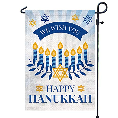Happy Hanukkah Garden Flag Double Sided Burlap Flag for December Chanukah Decoration - Menorah Star of David Jewish Holiday Garden Outdoor & Yard Decoration Flag 12.5 x 18