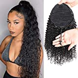 Feelgrace Kinky Curly Ponytail Hair Extensions Ponytail Curly Hair Virgin Brazilian Hair Extension (16 Inch, Kinky Curly)