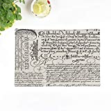 Topyee Set of 4 Placemats Elegant Italian Vintage Wedding Bridal French Script Modern Monotone 18x12.5 Inch Parties Decor Non-Slip Washable Place Mats for Kitchen Dinner Table Mats