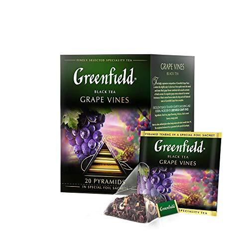 GREENFIELD GRAPE VINES | Premium Schwarzer Aromatisiert Tee | Tee mit Traubengeschmack | Geschenk | Pyramide-Teebeutel | 20 Pyramiden für Blatttee | teebeutel