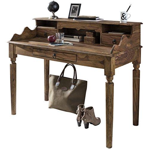 Wohnling Schreibtisch KADA Massivholz Sheesham, Sekretär 115 x 100 x 60 cm mit 3 Schubladen und Fächern, Konsolentisch Landhaus-Stil aus Natur-Holz modern, Arbeits-Tisch mit vielen Ablagemöglichkeiten