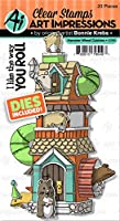 Art Impressions Critter Cubbies Clear Stamp & Die Set-Hamster Wheel