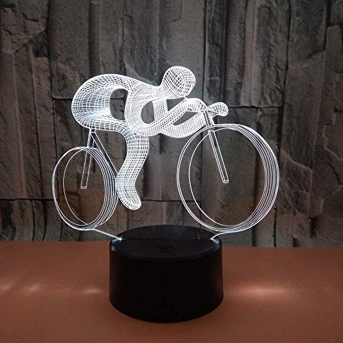 WSJTT Cycling LED Colorful Gradient 3D Stereo Table Lamp Touch Remote USB Night Light Desk Bedside Creative Decoration Gift Decoration