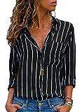 AitosuLa Chemisier Femme Blouse Rayures Col V Casual Mode Tunique Haut Top Shirt Manche Longue Rayures Noir Blanc L