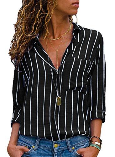 AitosuLa Bluse Gestreift Damen Hemd Oberteile V-Ausschnitt Lose Casual Chiffon Langarm T-Shirt Top Tunika Elegant Langarmshirt Streifen Schwarz Weiß M