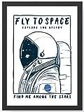 Fly to Space Astronaut Kunstdruck Poster -ungerahmt- Bild