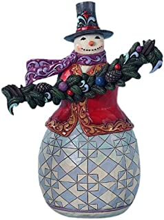 Enesco Jim Shore Heartwood Creek Evergreen Snowman Figurine, 9-3/4-Inch