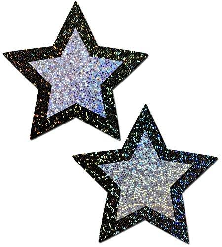 Pastease Pastease® Damen Glitzer schwarze Sterne mit Petite Silver Glitzer Center Nippel Pasties