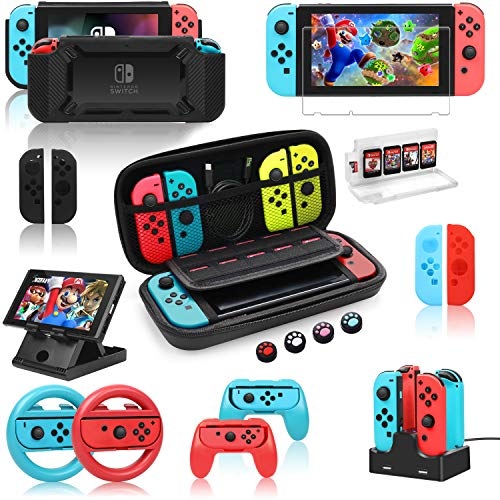 Switch Accessories Bundle for Nintendo Switch, Kit with Carrying Case, Screen Protector,Charging Dock,Compact Playstand,Protective Case,Game Case,Joystick Cap,Grip and Steering Wheel (18-in-1)