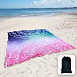 """Sunlit Silky Soft 85""""x72"""" Boho Sand Proof Beach Blanket Sand Proof Mat with Corner Pockets and Mesh Bag for Beach Party, Travel, Camping and Outdoor Music Festival,Blue and Pink Mandala"""