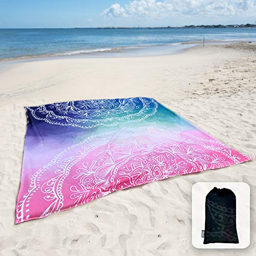 """Sunlit Silky Soft 84""""x72"""" Boho Sand Proof Beach Blanket Sand Proof Mat with Corner Pockets and Mesh Bag 6' x 7' for Beach Party, Travel, Camping and Outdoor Music Festival,Blue and Pink Mandala"""