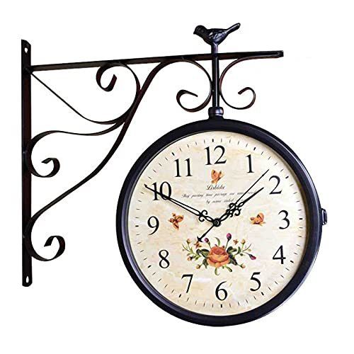 SUYUDD Reloj De Doble Cara para Exteriores Reloj Colgante Impermeable para Patio, Garaje, Área Exterior Reloj De Estación De Tren De Aspecto Antiguo Reloj De Dos Caras para Interiores