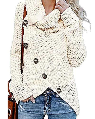 kenoce Damen Stilvoll Rollkragen Pullover lang Schlank Strickjacken Vintage Modisch Cardigan für Winter Herbst Stylisch Sweatshirts Mesh 05-Weiß EU 38-40/Etikettgröße M