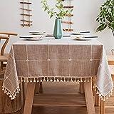 J-MOOSE - Tovaglia a quadretti in cotone e lino, protezione contro la polvere, tessuto da tavolo da pranzo, per tavolo da pranzo, cucina, decorazione (140 x 220 cm, caffè)