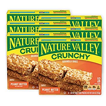Nature Valley Granola Bars Crunchy Peanut Butter 6 Pouches - 1.49 oz 2-Bars Per Pouch  Pack of 6