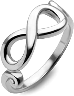 Chuvora 925 Sterling Silver Infinity Endless Love Symbol Promise Engagement Wedding Band Ring
