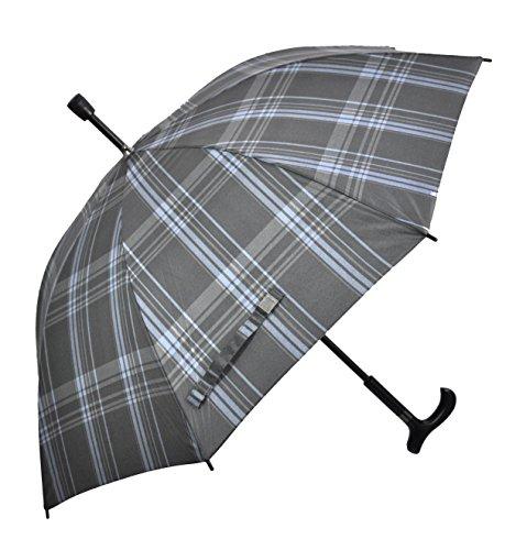 Regenschirm Stützschirm Gehstock Gehhilfe mit Fritzgriff & Gummipuffer karo blau grau
