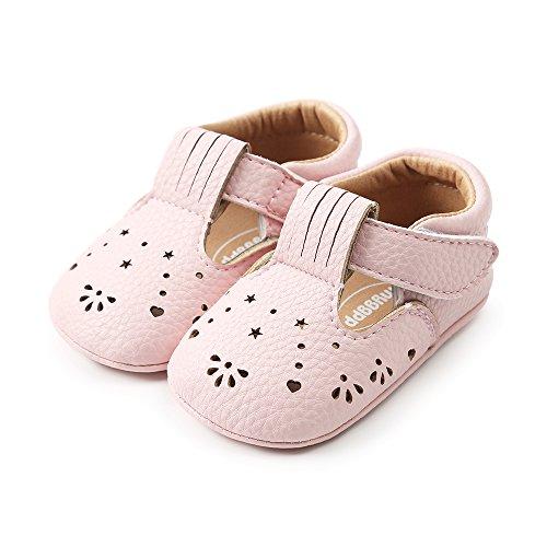 LACOFIA Scarpe Primi Passi Bambina Ciabatte Scarpe neonata in Morbida Pelle Antiscivolo Rosa 6-12 Mesi