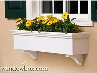 54 Inch New Haven No Rot PVC Composite Flower Window Box w/ 2 Decorative Brackets