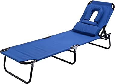 Dawndior Chaise Folding Chair Adjustable Beach Patio Lounge Recliner, Blue