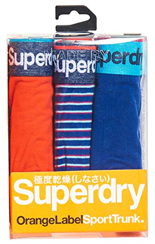 Superdry Herren Sport Trunk Triple Pack Boxershorts, Blau (Lay Up Blue/Lay Up Blue Stripe X4i), Medium