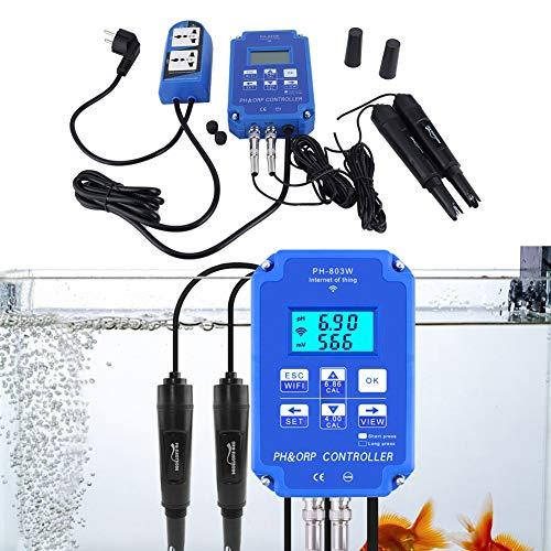 Controlador de Calidad del Agua PH-803W WiFi Controlador de medidor ORP/PH Monitor de Calidad del Agua en línea Enchufe de la UE AC230V ± 10% 50/60Hz para acuarios, Agricultura