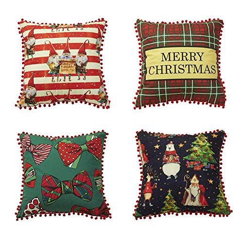 HIGHKAS Christmas Theme Throw Pillow Covers, Soft Cute Xmas Decorative Cushion Covers Home Throw Pillow Case for Sofa Chair Couch Bedroom 18x18Inch 45x45cm 4PCS Set