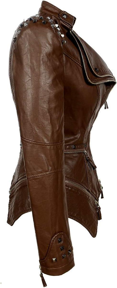 TMHOO Damen Jeansjacke Nieten Mode Schwalbenschwanz Slim Fit Kurz Denim Jacken Outdoor Motorrad Fahrrad Waschen Jeans Jacke Übergangsjacke Mantel 076-kaffee