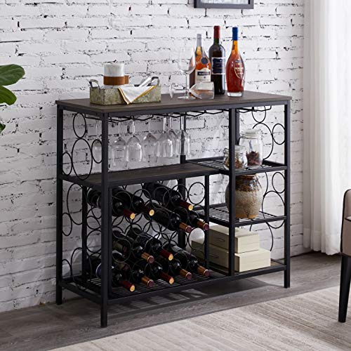 "Hombazaar Industrial Wine Rack Table with Glass Holder, Metal and Wood Wine Bar Cabinet with 20 Bottles Wine Storage, Console Table with Wine Rack for Home Kitchen, Gray-Brown Finish, 33.7"" Tall"