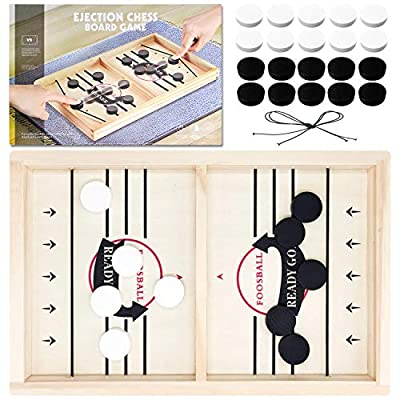 Toydaze Sling Foosball Fast Sling Puck Game with Extra 10 Pucks & 2 Slingshots for Spare Use, Portable Slingpuck Board Game for Child, Foosball Slingshot Game Board, Available in Large & Small Sizes by