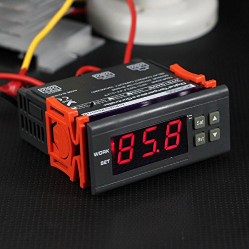 bayite AC 110V Fahrenheit Digital Temperature Controller 10A 1 Relay with Sensor