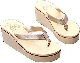 Gotd Women Slim Strap Flip Flop Bohemian Muffin Slope Wedge Heels Sandals Slide Platform Thongs Slipper Clip Toe Soft Girl Indoor Outdoor Beach Shoes (US:5, Gold)