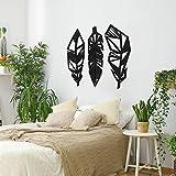 ODUN ARTS - Plumas - Cuadros Decorativos de Madera - Decoración de Pared - 75 cm Alto X 25 cm Ancho (Cada Pluma) - Negro