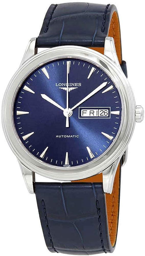 Longines orologio automatico per uomo cassa in acciaio inox color argento e cinturino in pelle di coccodrillo L4.899.4.92.2