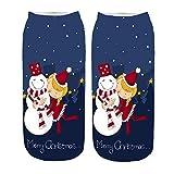 TWIFER 3D Cartoon Damen Winter Weihnachten Socken Lustige Crazy Novelty Knöchel Fun Socken (E, 20-22CM)