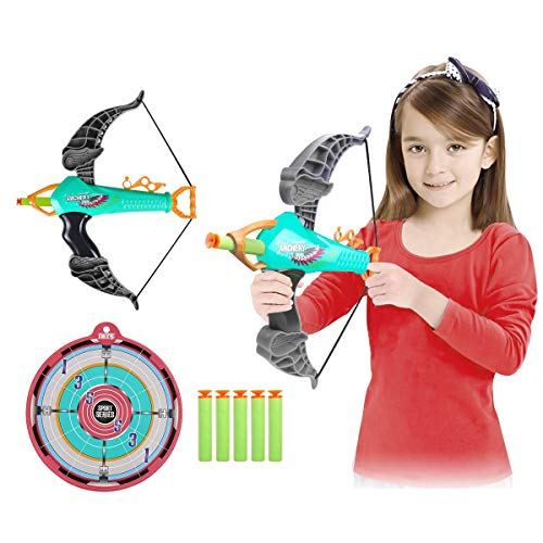 SubClap Bow and Arrow Toy Archery Set for Kids with 25 Suction Cups Arrows,Target Play Game Practice Outdoor Shooting Toys for Boys Grils,Suit for 3,4,5 and Up Years Old (Blue & Grey, 12.69.82 inch)